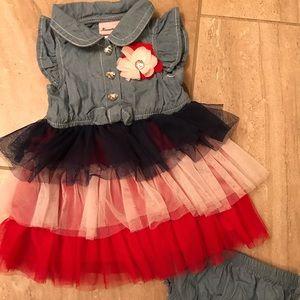 Nannette red white and blue tutu denim dress